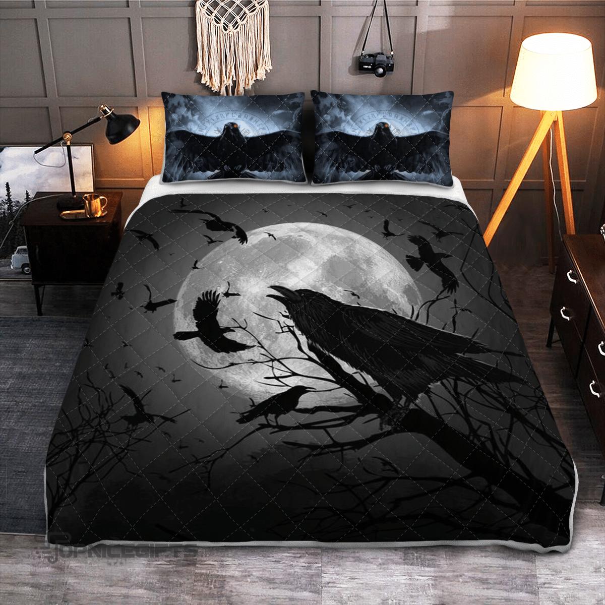 Raven Crow in Night Moon Quilt Bedding Set