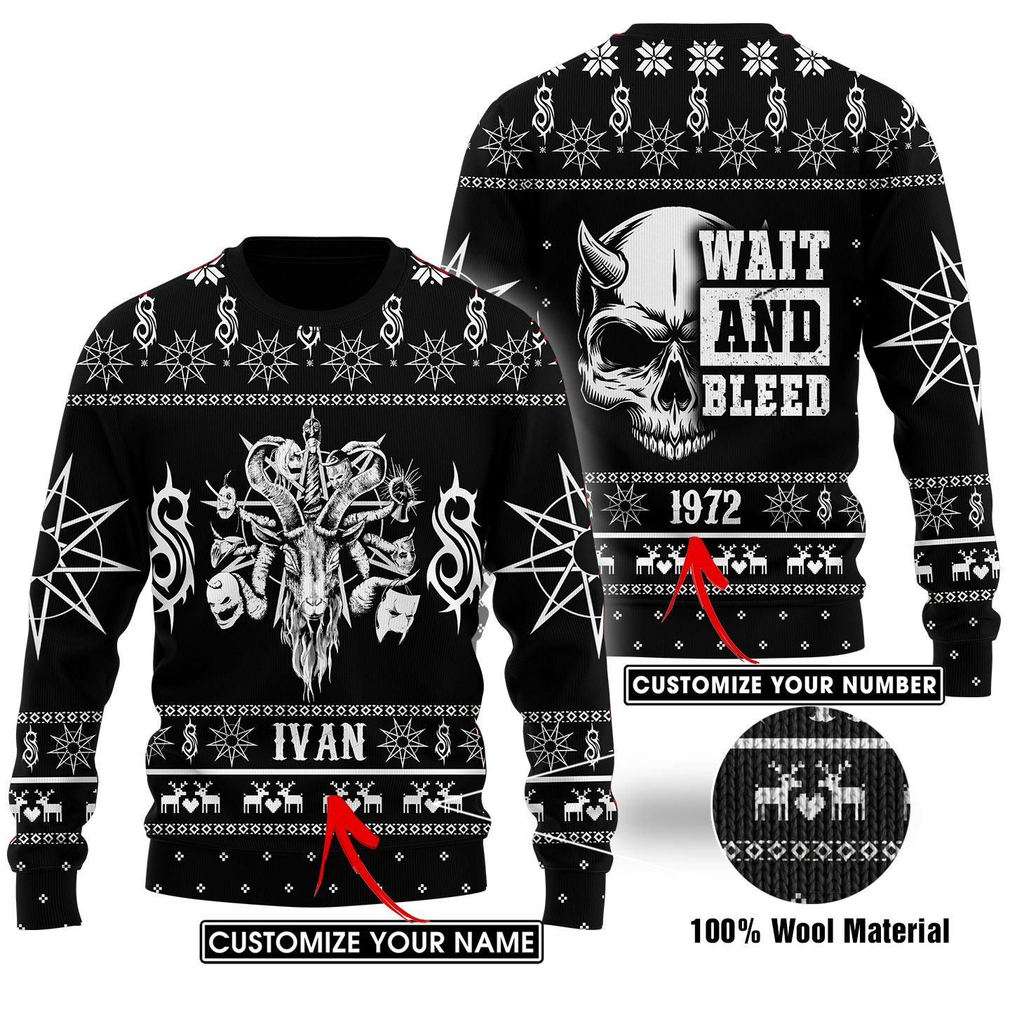 Custom Name Number Slipknot wait and bleed Ugly SWEATER
