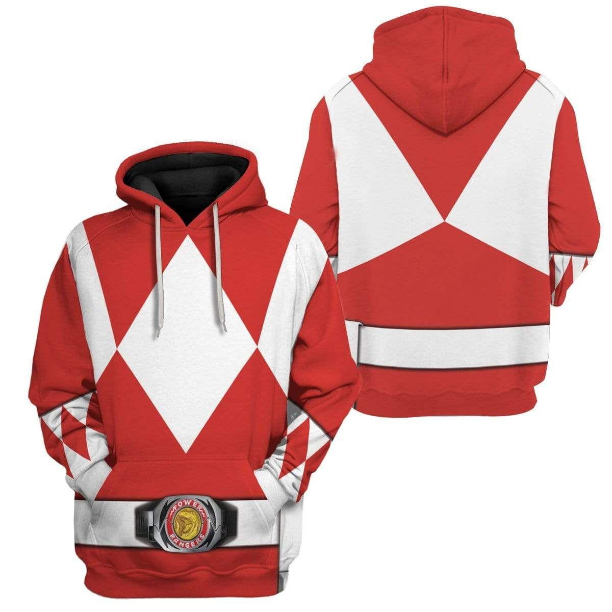 Cosplay Red MIGHTY MORPHIN Muscle Power Ranger Hoodies Apparel