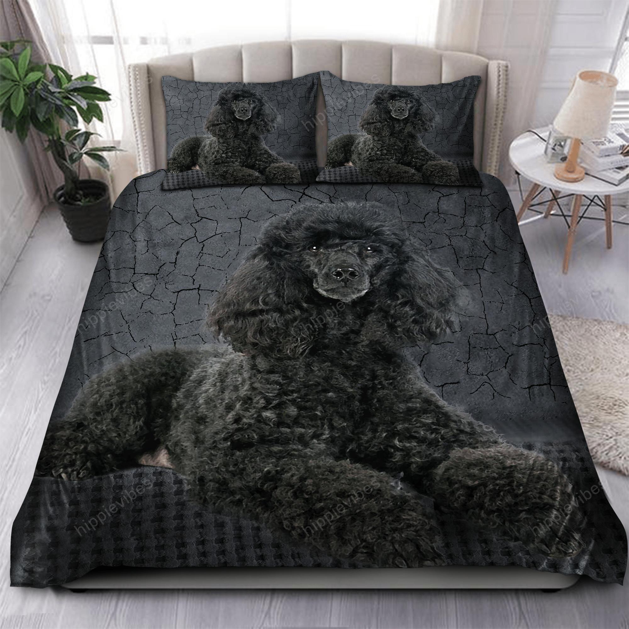 Poodle Black Bedding Set