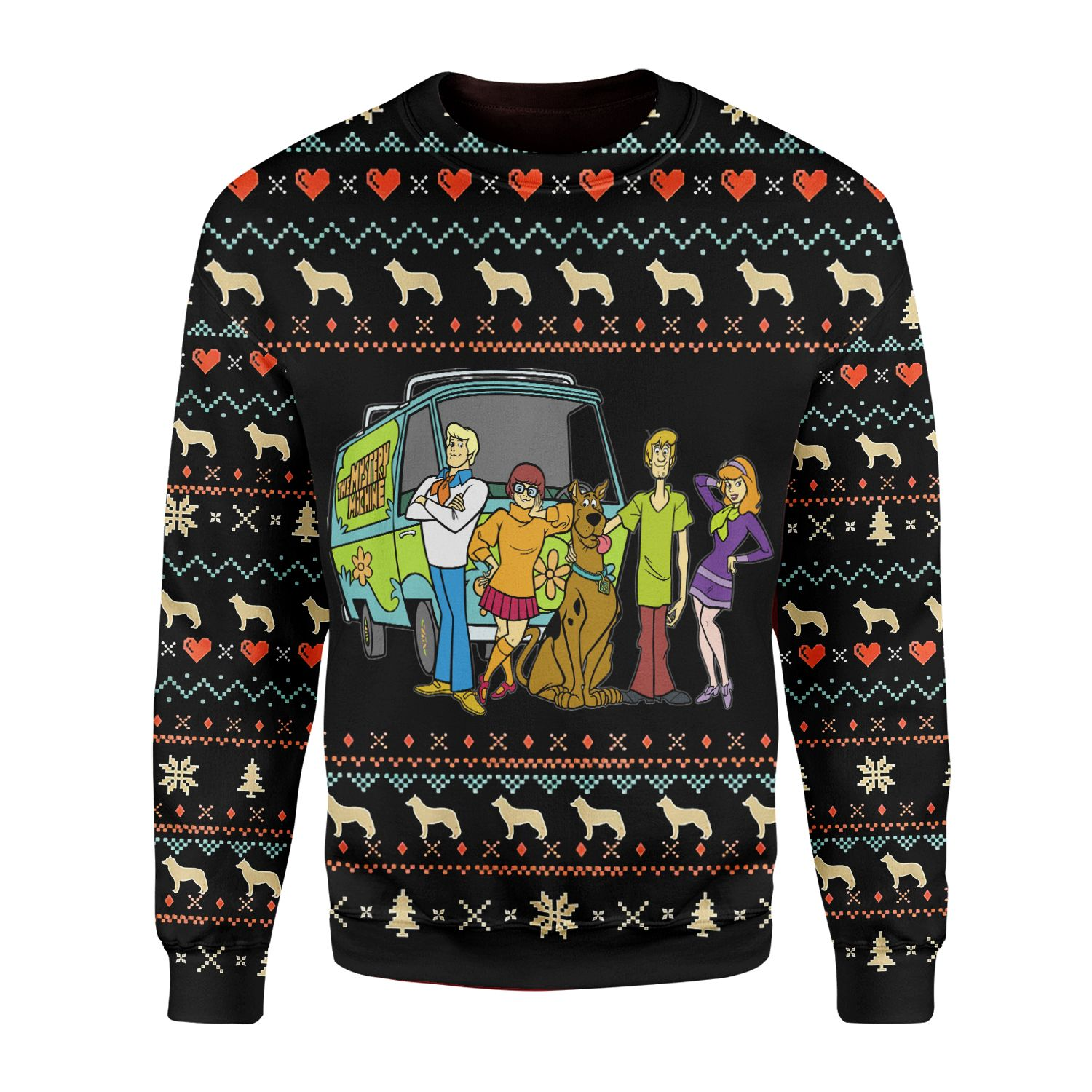Happy Dog Scooby Doo team 3D Printed Ugly Sweater
