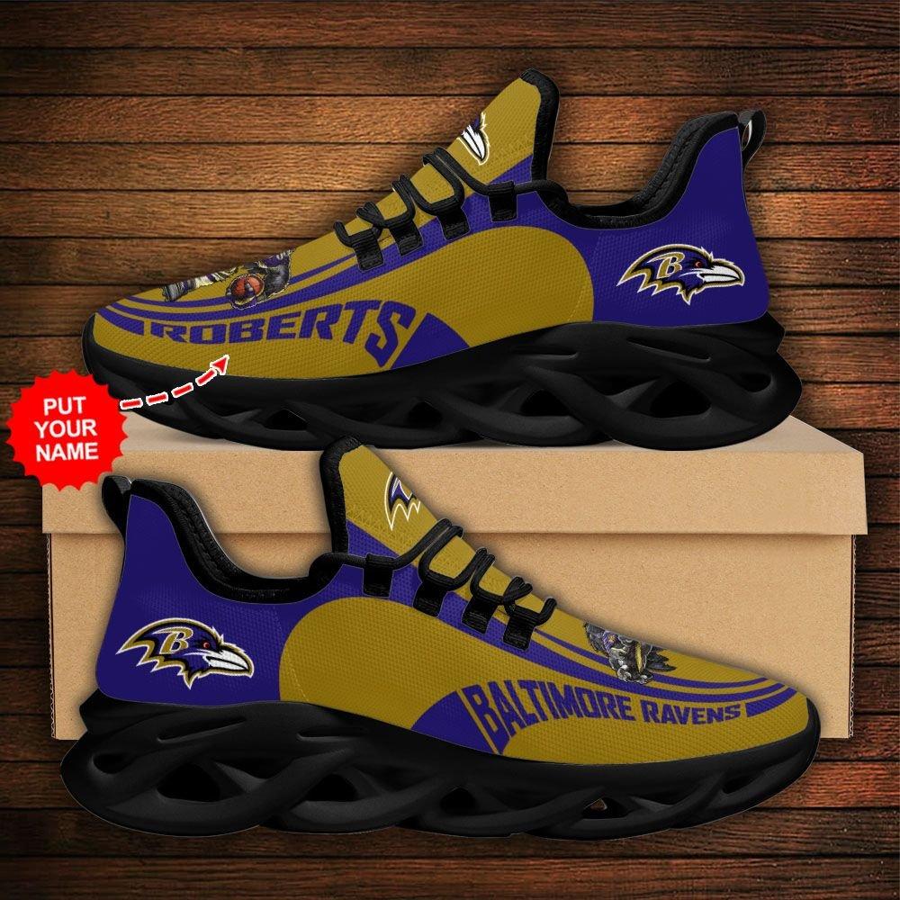 Custom Name NFL Baltimore Ravens sport Max Soul Sneaker