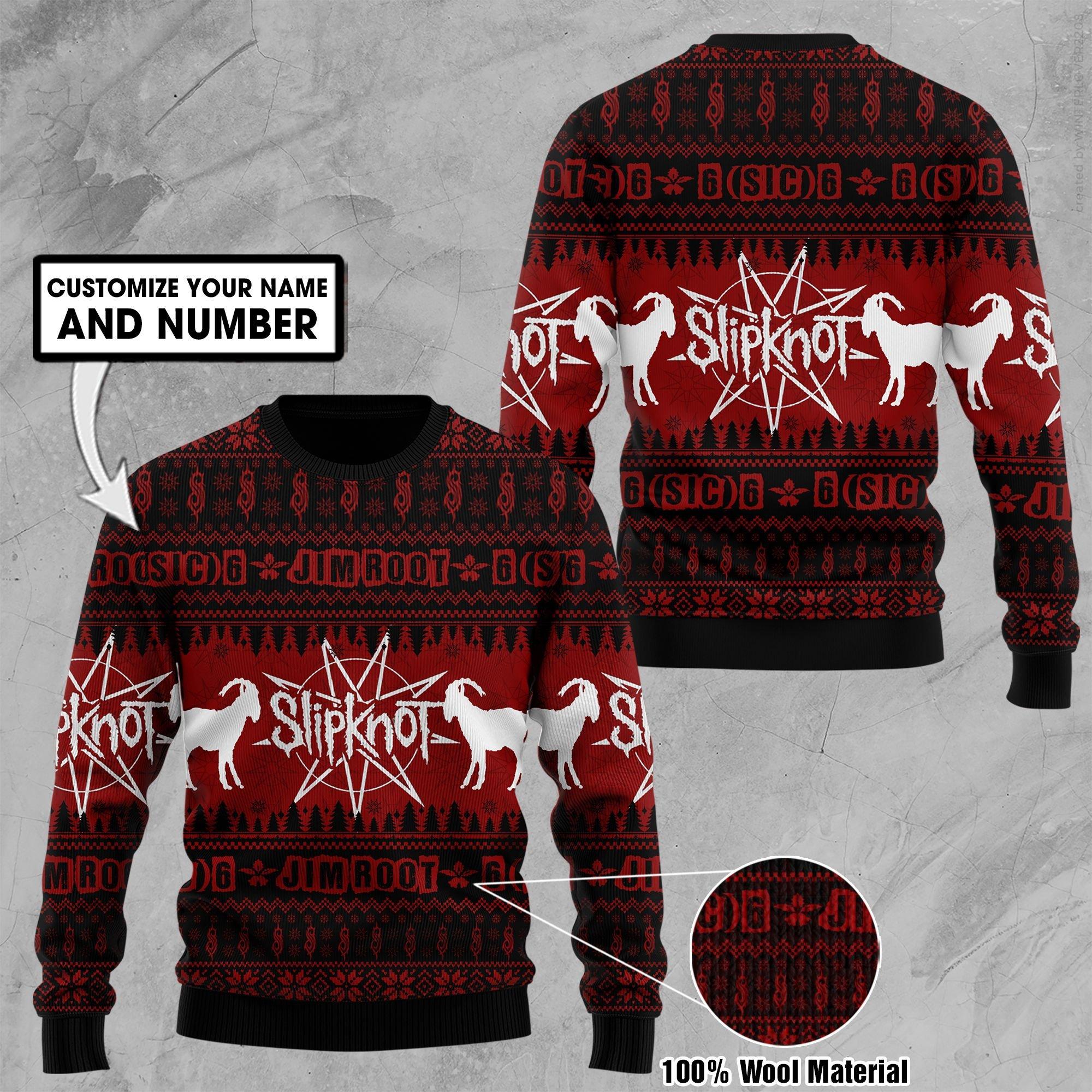 Custom Name Number Slipknot Goat Ugly Sweater