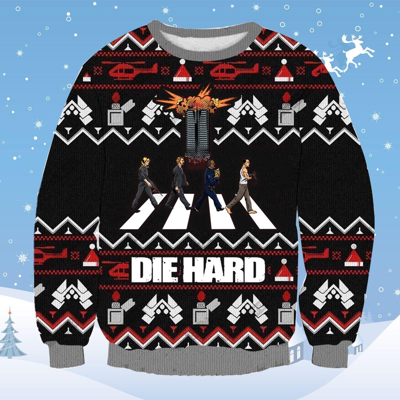 Die Hard Four Men Walk Xmas Ugly Sweatshirt