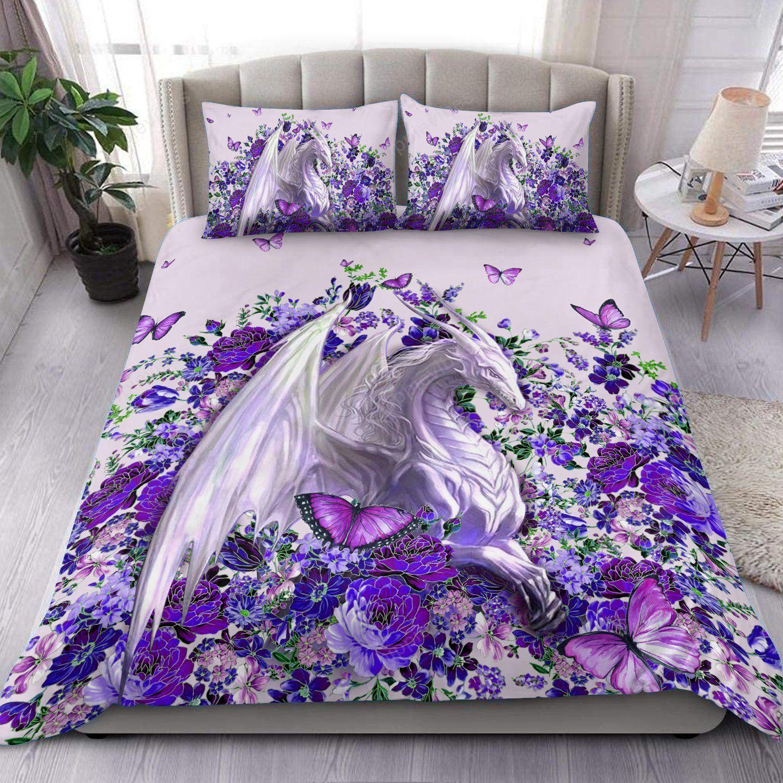 Beautiful Dragon With Purple Flower Bedding Set