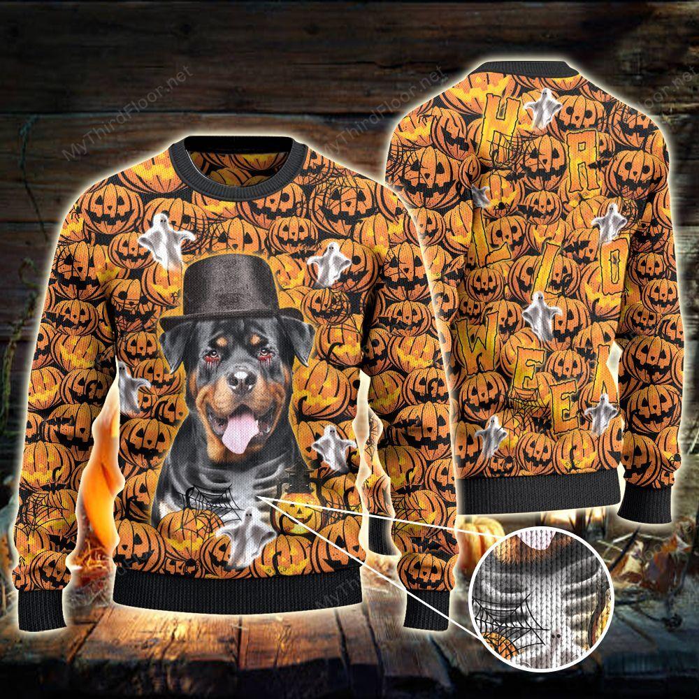 Rottweiler Dog Lovers Halloween Pumpkin Ugly Sweater