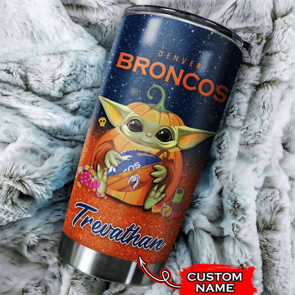 Custom Name NFL Denver Broncos Baby Yoda Tumbler Cup