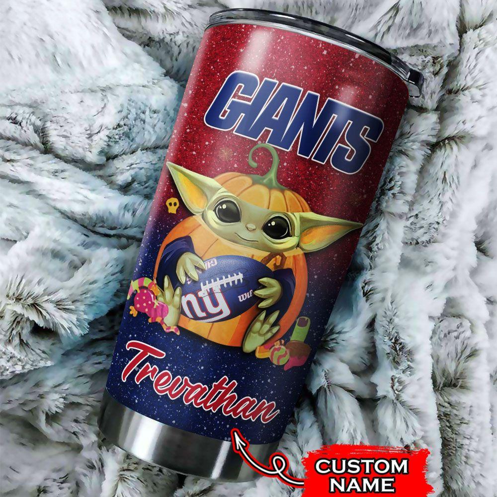 Custom Name NFL New York Giants Baby Yoda Tumbler Cup