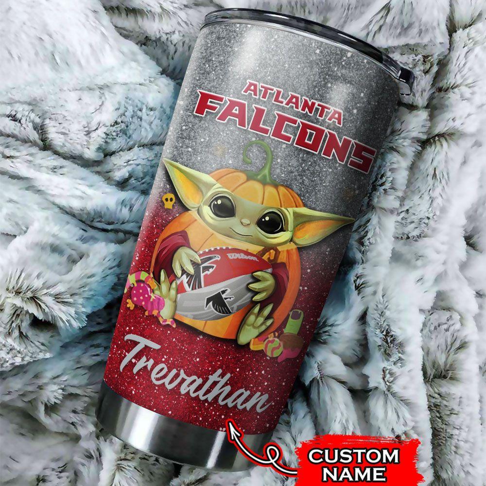 Custom Name NFL Atlanta Falcons Baby Yoda Tumbler Cup