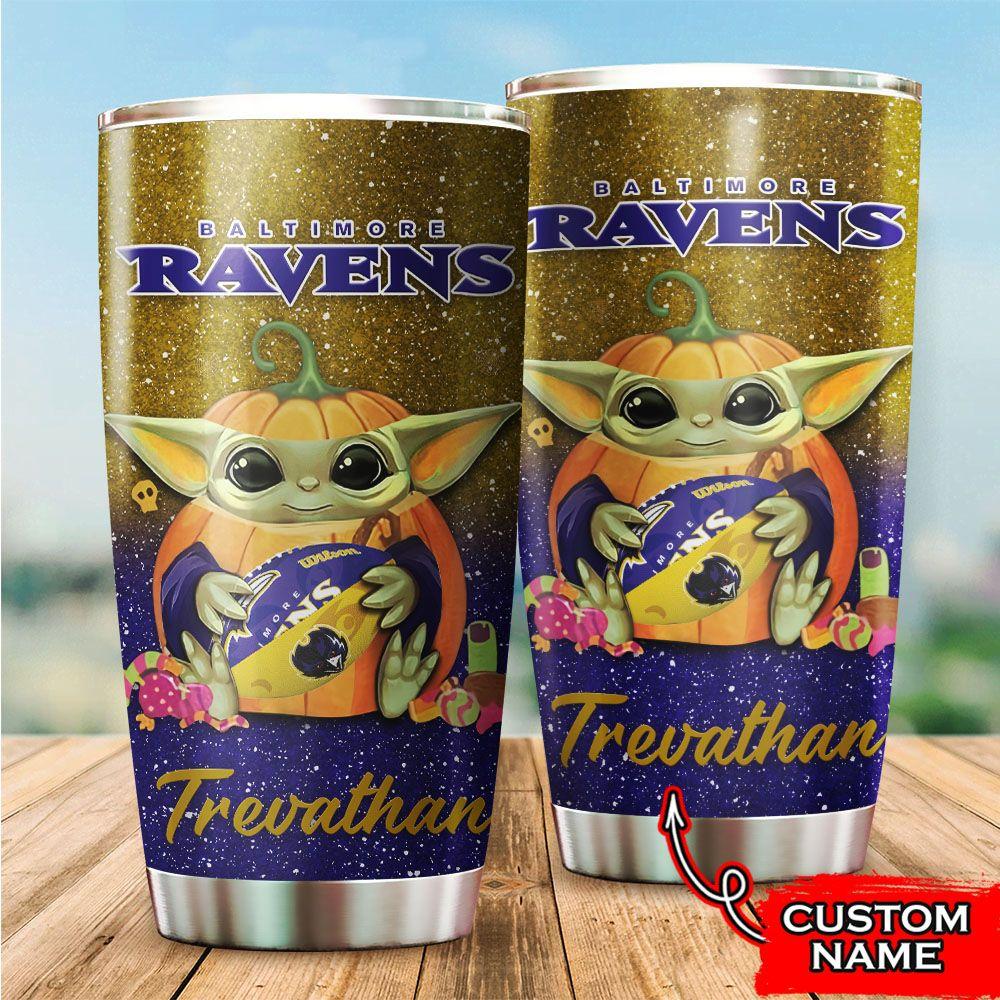 Custom Name NFL Baltimore Ravens Baby Yoda Tumbler Cup
