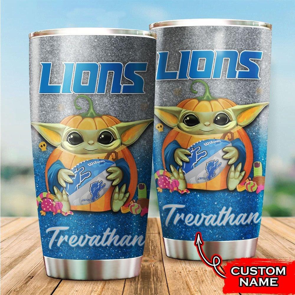 Custom Name NFL Detroit Lions Baby Yoda Tumbler Cup
