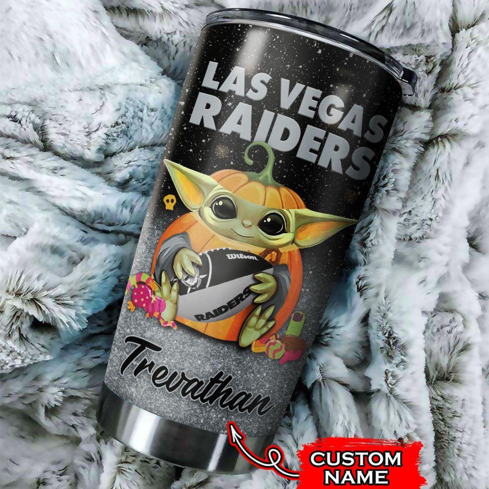 Custom Name NFL Las Vegas Raiders Baby Yoda Tumbler Cup