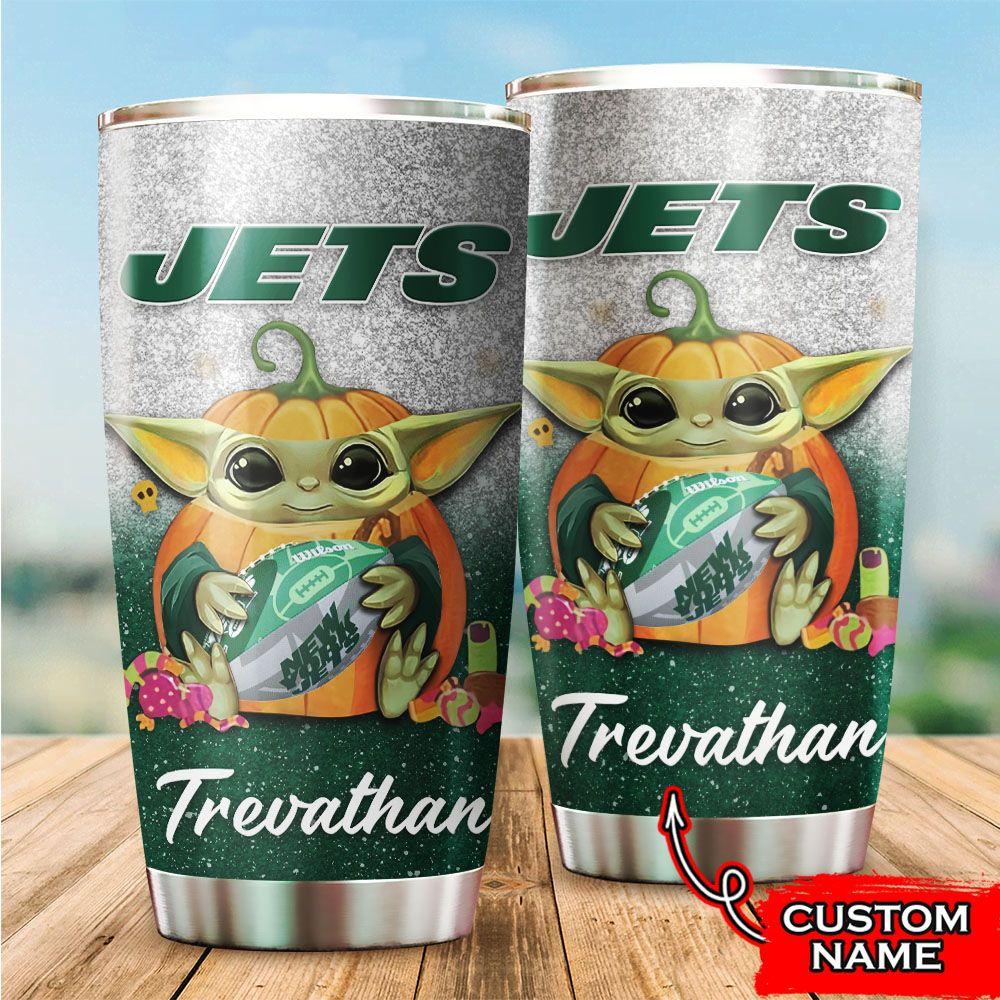 Custom Name NFL New York Jets Baby Yoda Tumbler Cup