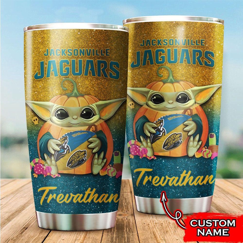 Custom Name NFL Jacksonville Jaguars Baby Yoda Tumbler Cup
