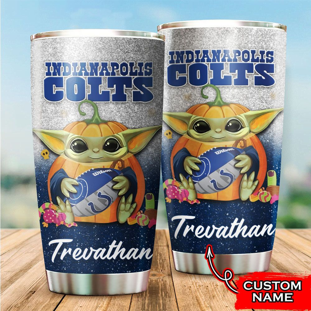 Custom Name NFL Indianapolis Colts Baby Yoda Tumbler Cup