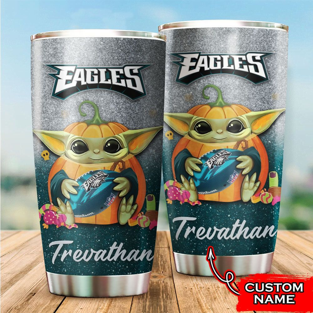 Custom Name NFL Philadelphia Eagles Baby Yoda Tumbler Cup