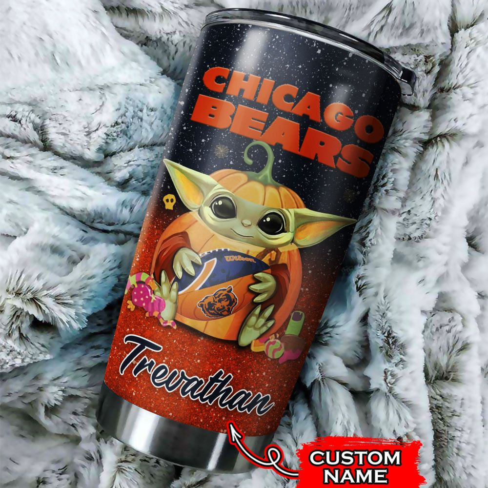 Custom Name NFL Chicago Bears Baby Yoda Tumbler Cup