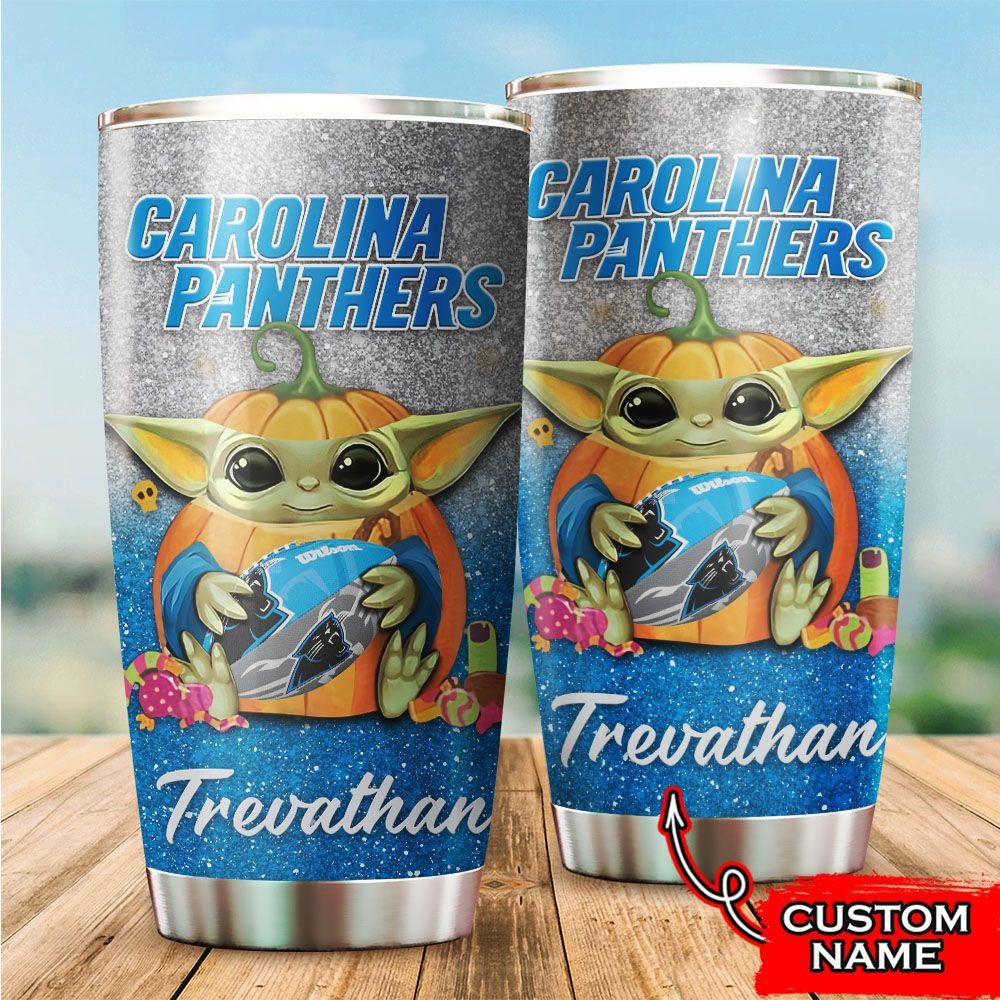 Custom Name NFL Carolina Panthers Baby Yoda Tumbler Cup