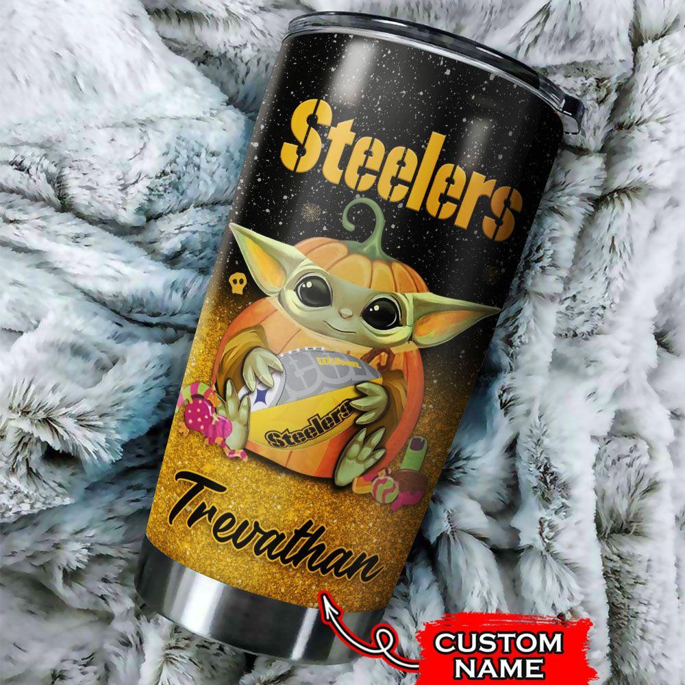 Custom Name NFL Pittsburgh Steelers Baby Yoda Tumbler Cup