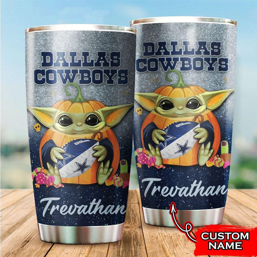Custom Name NFL Dallas Cowboys Baby Yoda Tumbler Cup