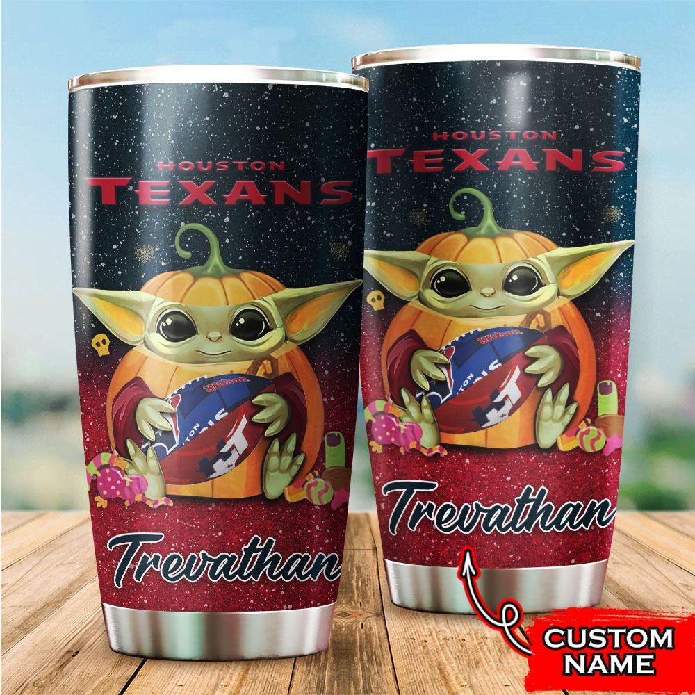 Custom Name NFL Houston Texans Baby Yoda Tumbler Cup