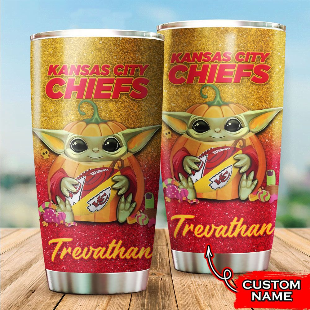 Custom Name NFL Kansas City Chiefs Baby Yoda Tumbler Cup