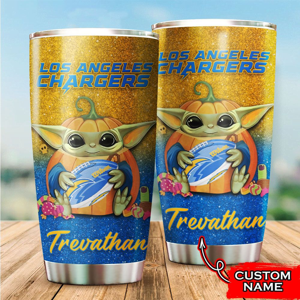 Custom Name NFL Los Angeles Chargers Baby Yoda Tumbler Cup