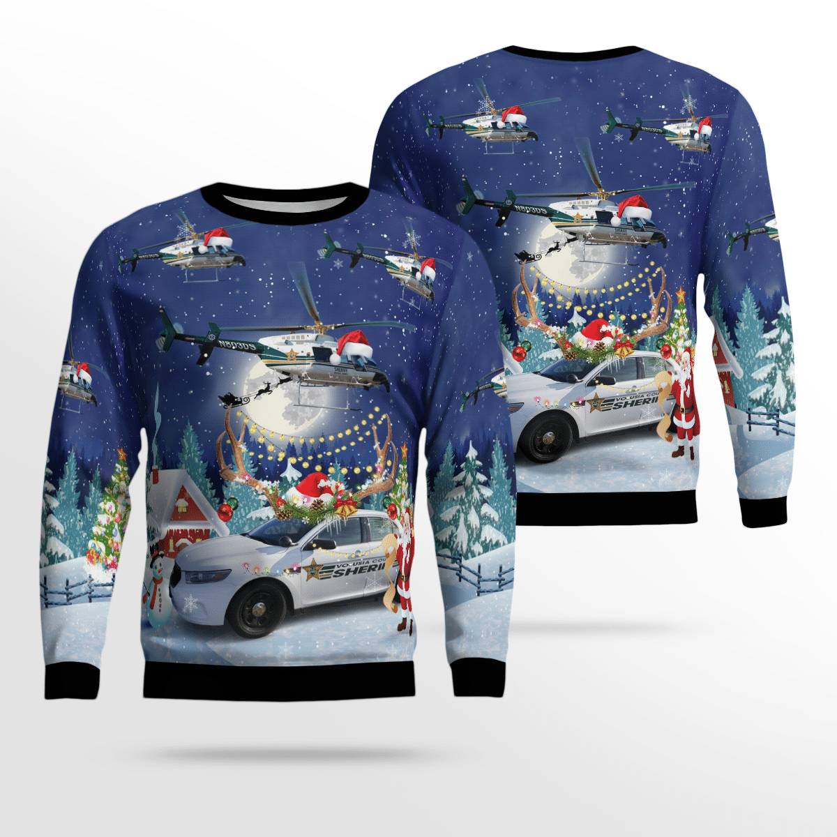 Volusia County Sheriff Bell 407 & Ford Police Interceptor Christmas Ugly Sweater