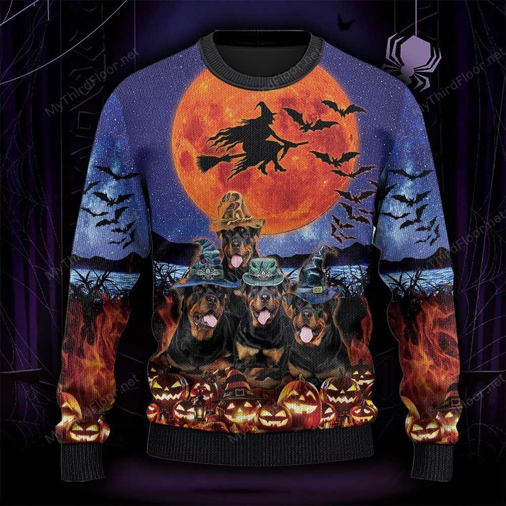 Rottweiler Dog Lovers Halloween Moon Ugly Sweater