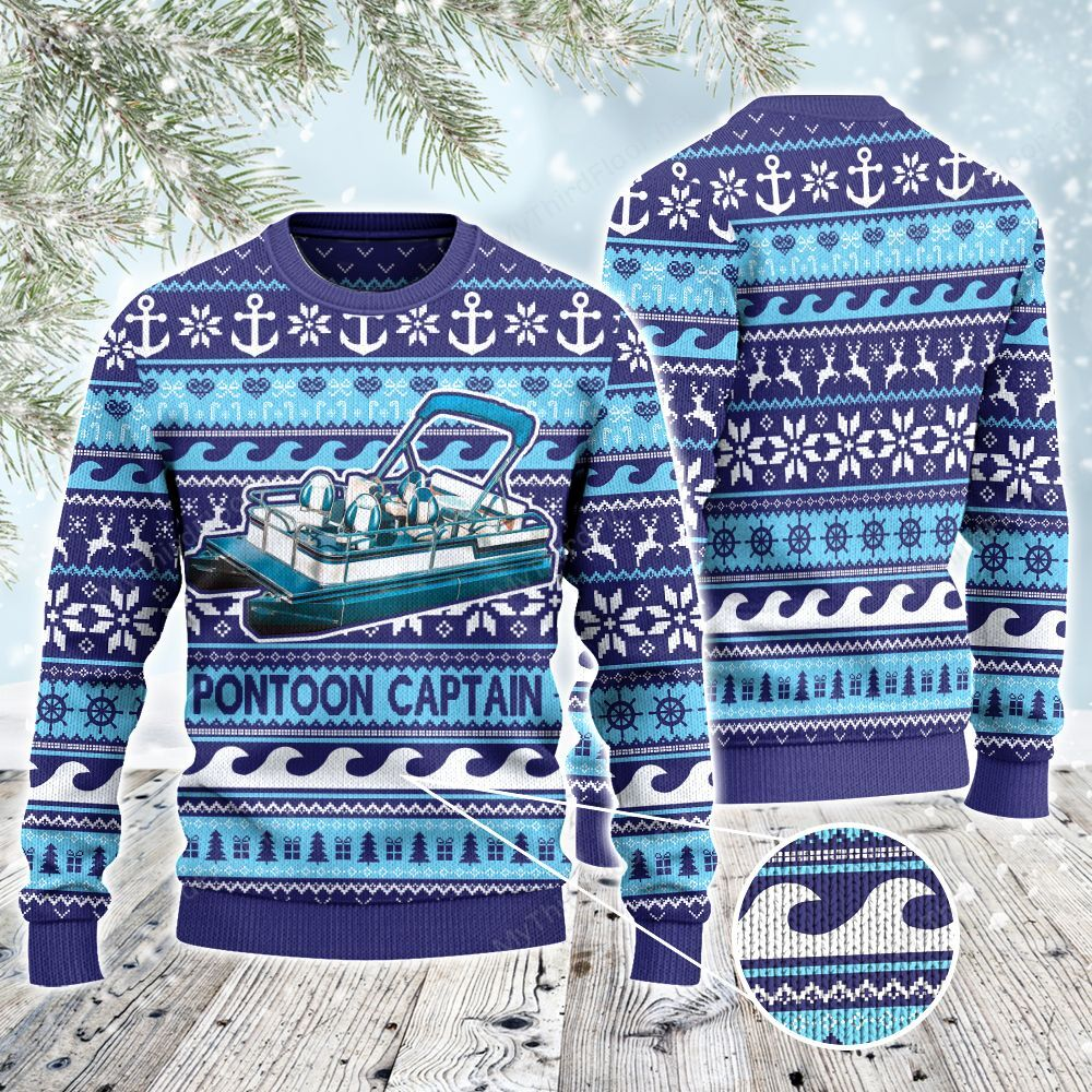 Pontoon Captain Anchor Gift Ugly Sweater
