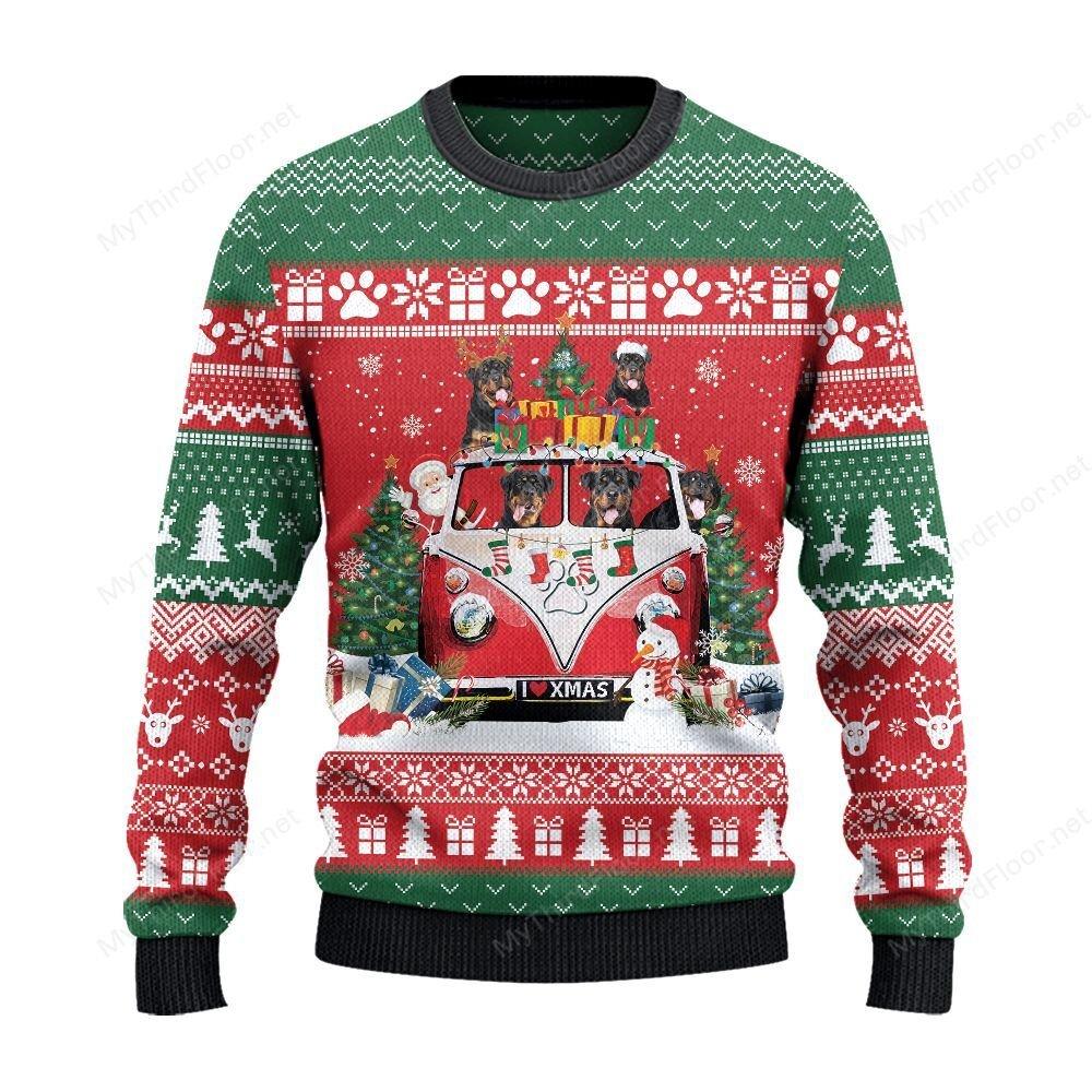 Rottweiler Dog Lovers Christmas Van Sweater