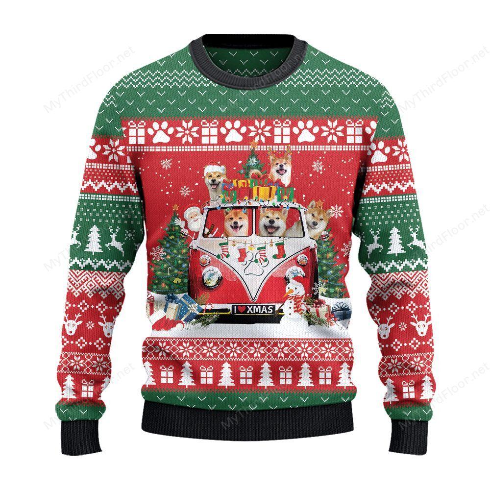 Shiba Inu Dog Lovers Christmas Van Ugly Sweater