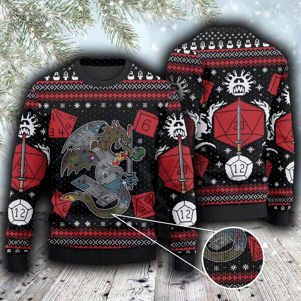 Dungeons and Dragons Gamer Ugly Sweater