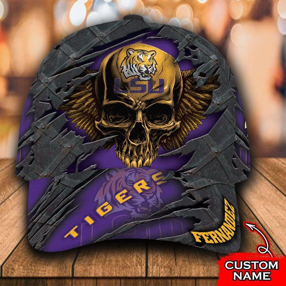 Custom Name NCAA LSU Tigers 3D Skull Classic Cap
