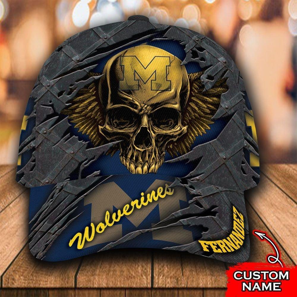 Custom Name NCAA Michigan Wolverines 3D Skull Classic Cap