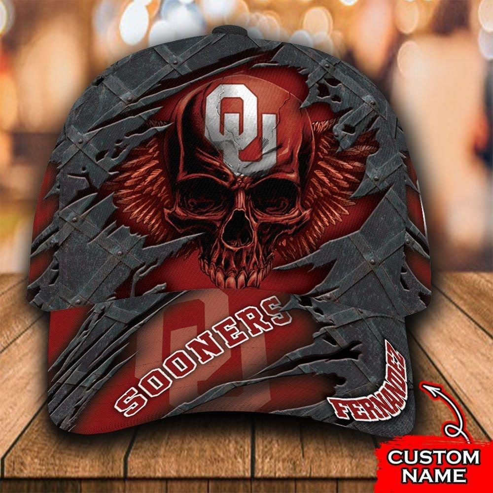 Custom Name NCAA Oklahoma Sooners 3D Skull Classic Cap