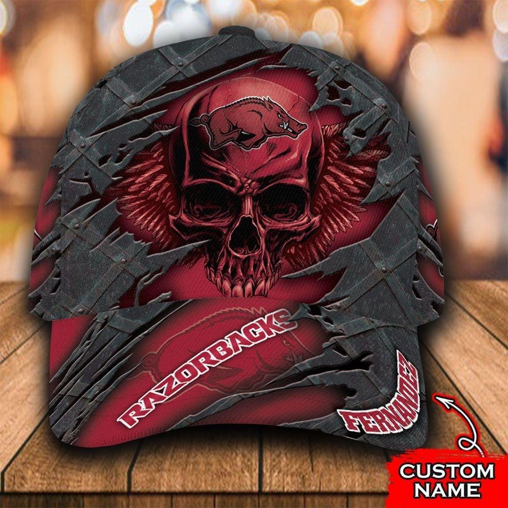 Custom Name NCAA Arkansas Razorbacks 3D Skull Classic Cap