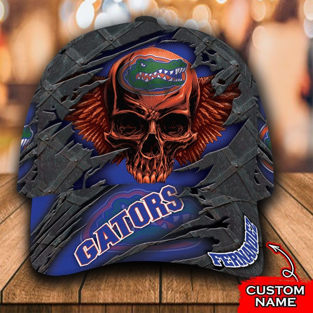 Custom Name NCAA Florida Gators 3D Skull Classic Cap