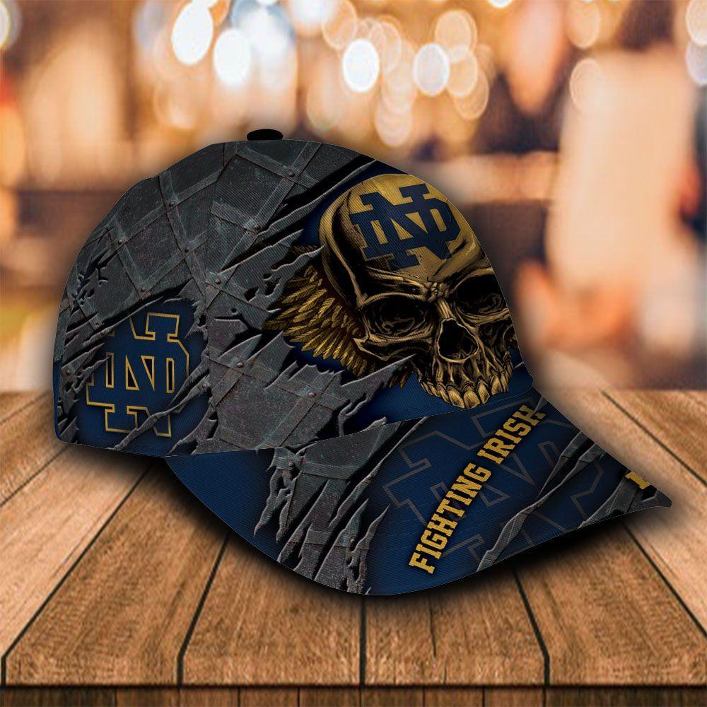 Custom Name NCAA Notre Dame Fighting Irish 3D Skull Classic Cap