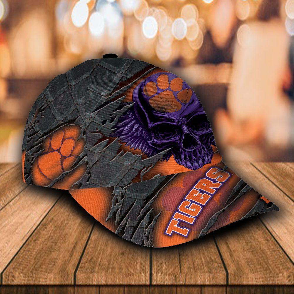Custom Name NCAA Clemson Tigers 3D Skull Classic Cap