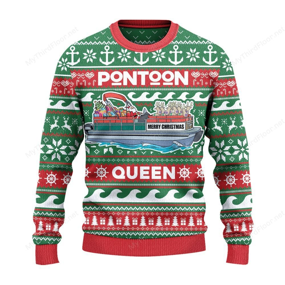 Pontoon Queen Merry Christmas Ugly Sweater