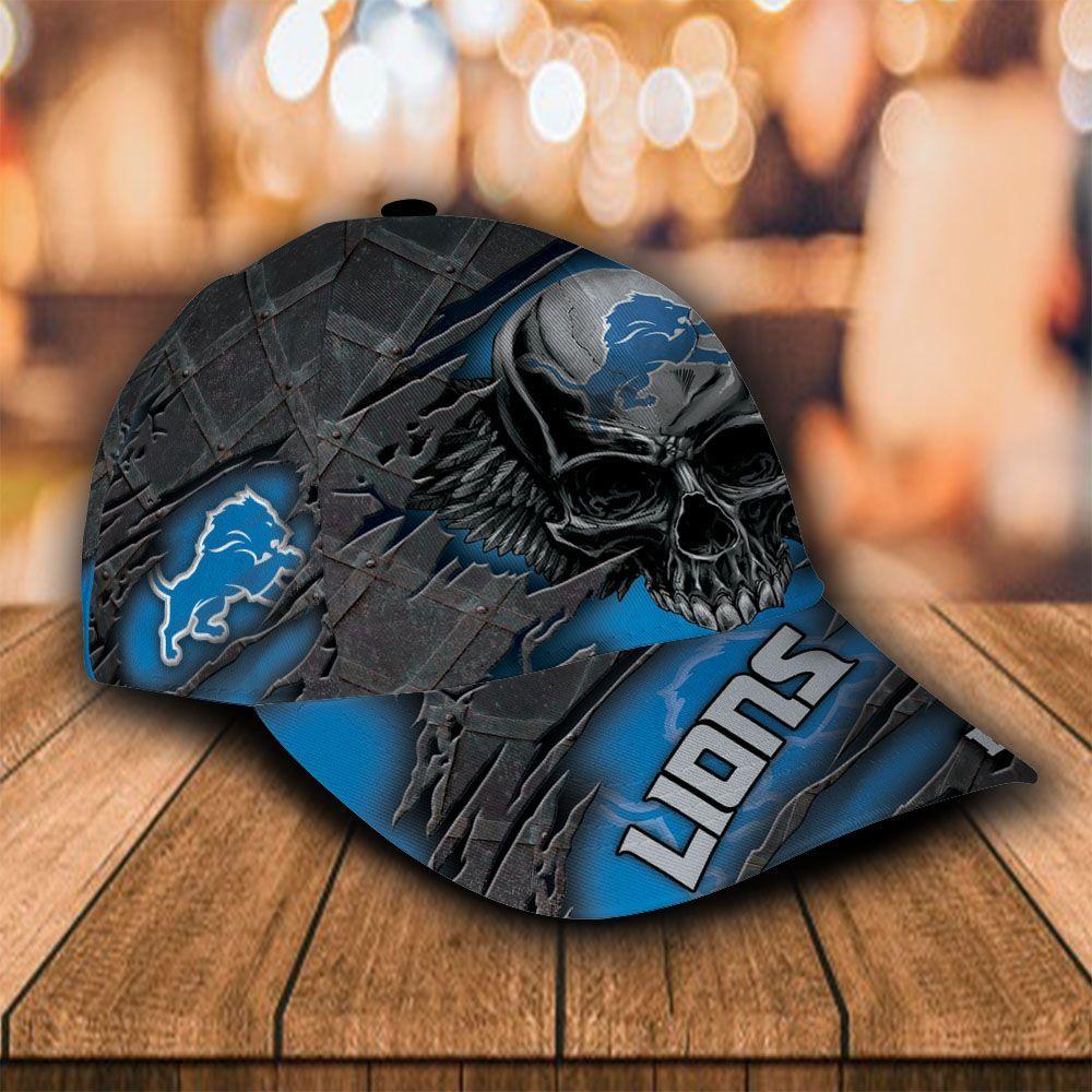 Custom Name NFL Detroit Lions Cap Classic Skull