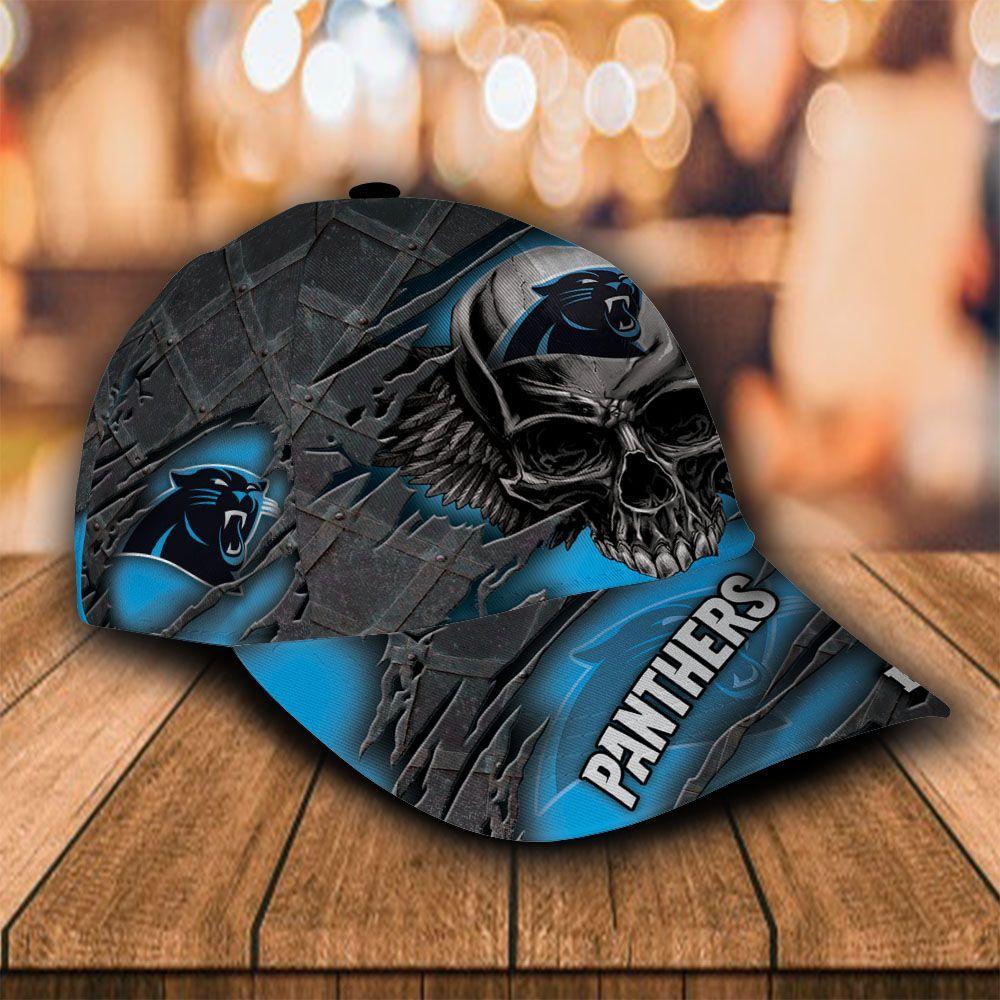 Custom Name NFL Carolina Panthers Cap Classic Skull