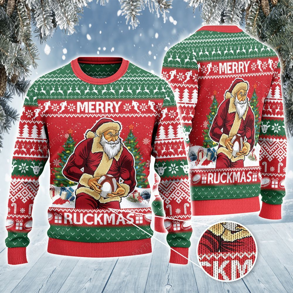 Rugby Lovers Gift Merry Ruckmas Christmas Ugly Sweater for football fans