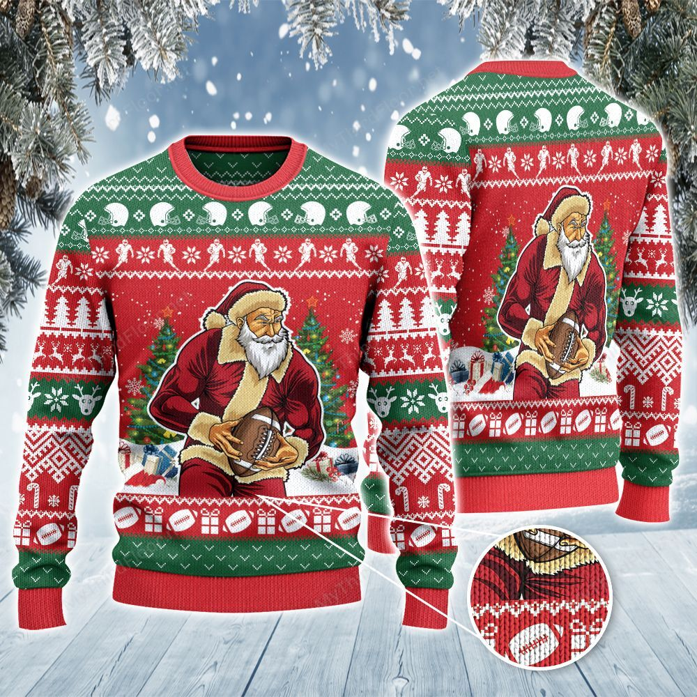 Rugby Football Lovers Gift Merry Christmas Ugly Sweater