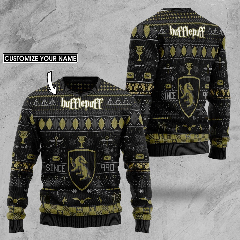 Custom Name Harry Potter Hufflepuff Ugly Sweater