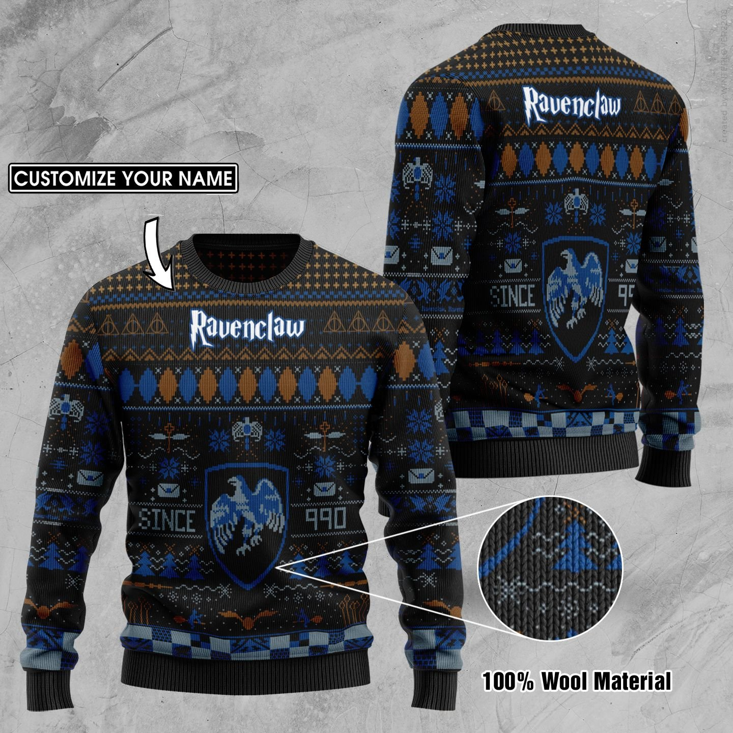 Custom Name Ravenclaw Harry Potter Ugly Sweater
