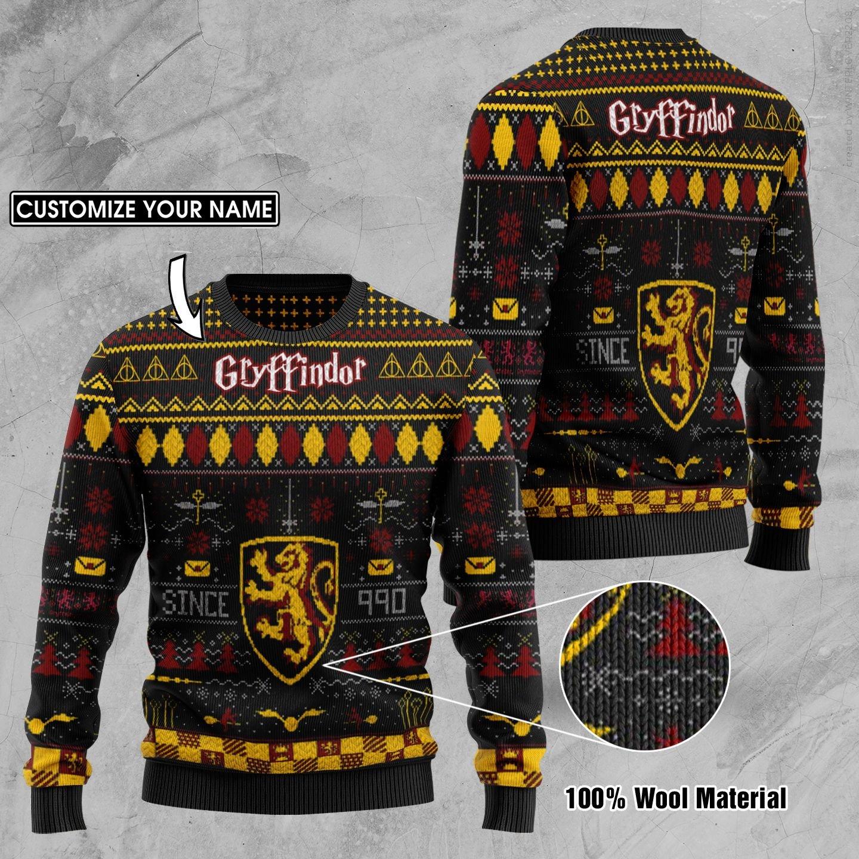 Custom Name Gryffindor Harry Potter Ugly Sweater