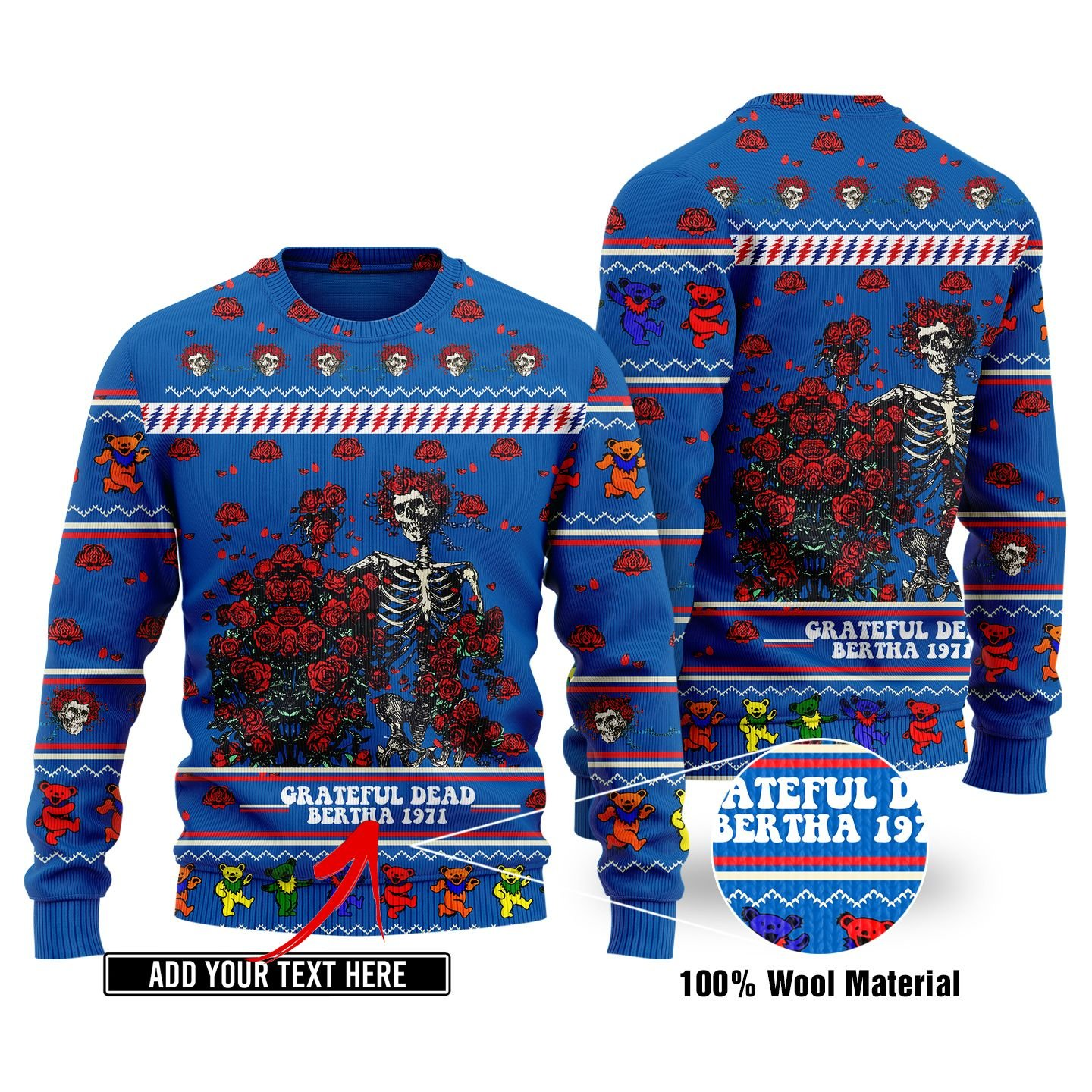 Custom Text Grateful Dead KNITTED SWEATER