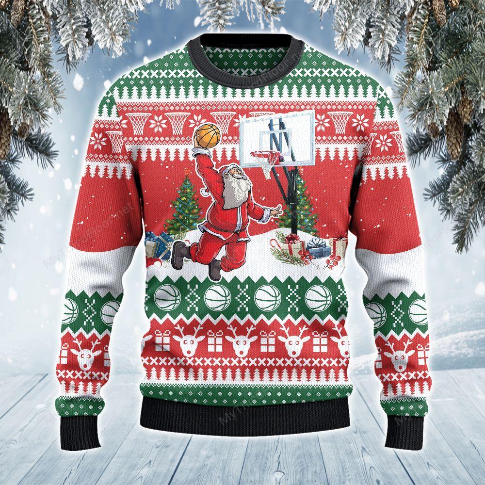 Basketball Lovers Gift Santa Slam Dunk Ugly Sweater